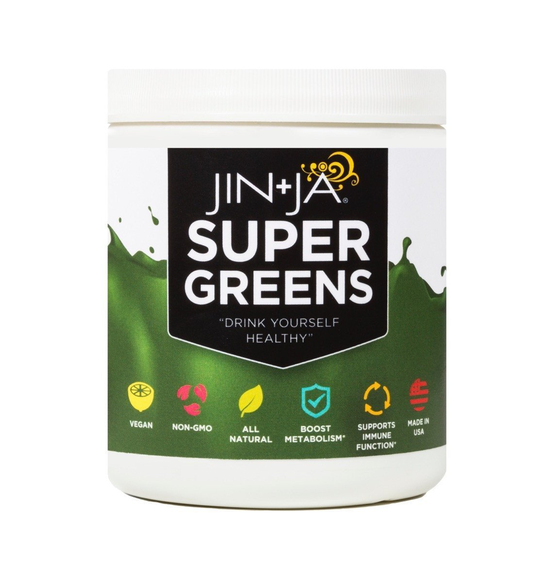 Jin-Ja Super Greens, Digestive Health Green Drink Powder with Ginger, Green Tea, and Mint - Flavor: Berry