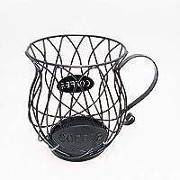 BSTOB Coffee Capsule Holder, Novelty Coffee Pod Organizer Espresso Metal Storage Basket, Black