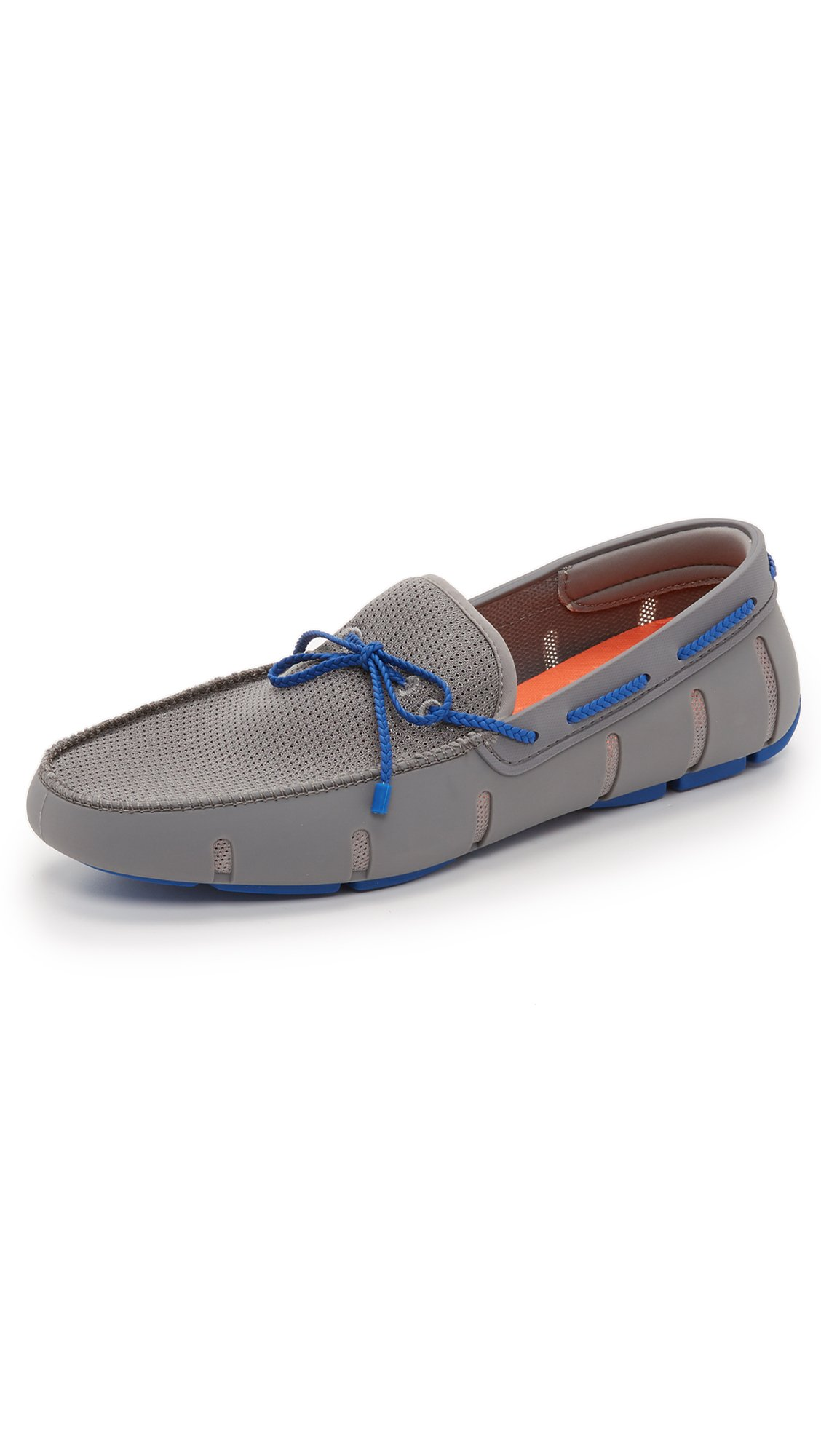 SWIMS Men's Braided Lace Loafers, Grey/Blue, 7 D(M) US