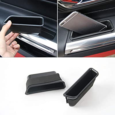 CheroCar Car Front Row Door Side Storage Box Handle Armrest Container Tray for Ford Mustang 2015 2016 2020 2020 2020 (Black 2pcs): Automotive