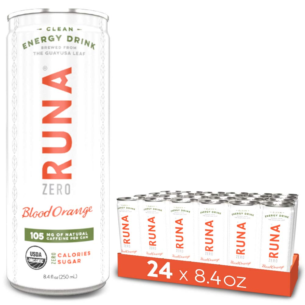 RUNA ZERO Organic Clean Energy Drink, Blood Orange | High Caffeine Coffee Alternative | Sustained Energy Boost with No Jitters | Calorie Free & Sugar Free, 8.4 oz (Pack of 24) by RUNA