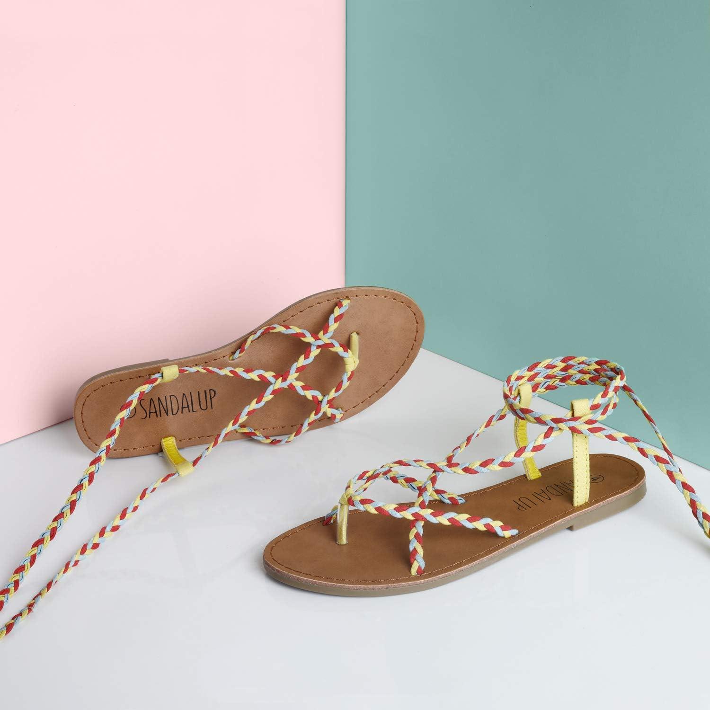 Sandalias Planas para Mujer Sandalias con Cordones Trenzados Sandalias Romanas Sandalias