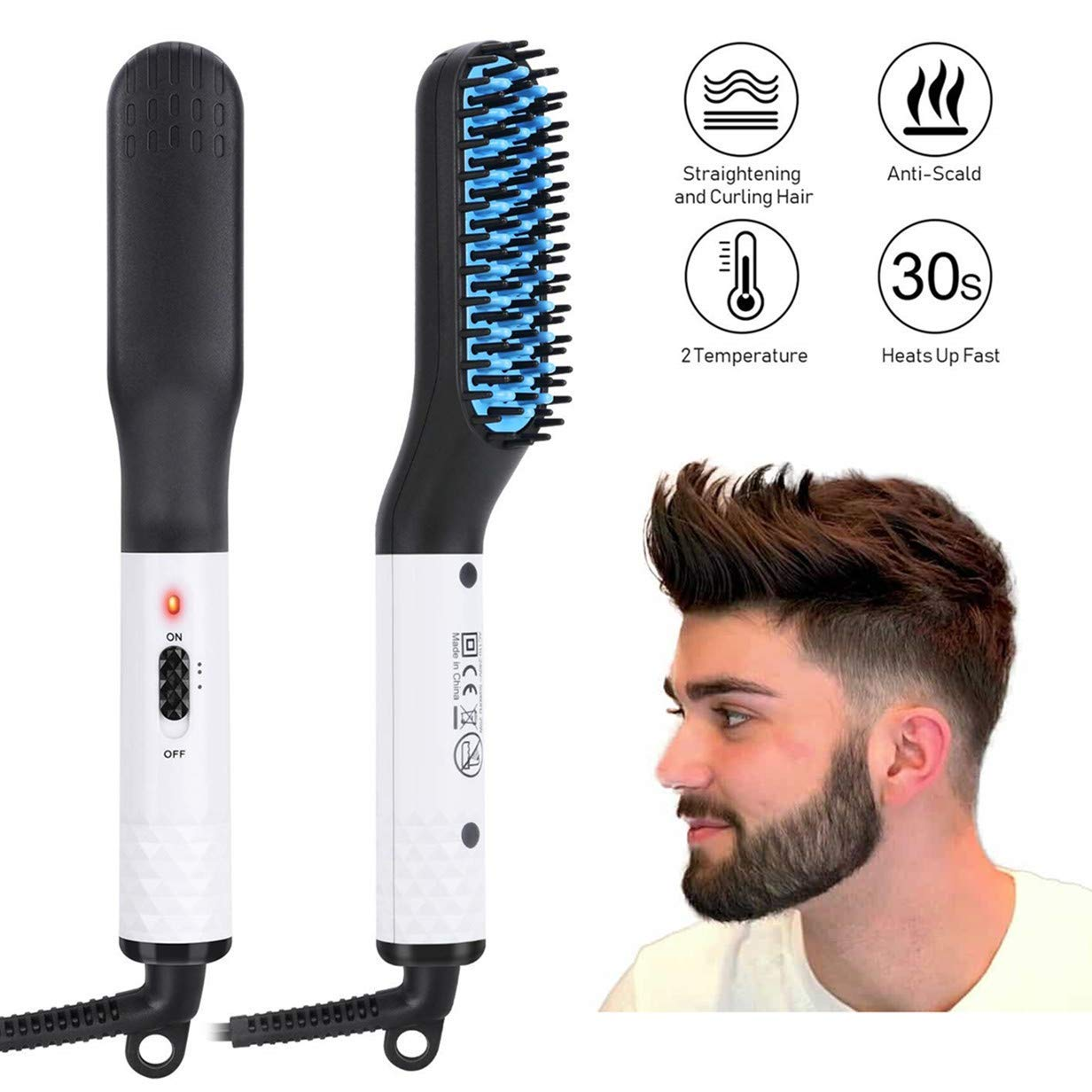Beard Straightener for men, Multifunctional Hair Styler Electric Hot Comb and Beard Straightening Brush Hair Straightening Comb with Dual Voltage 110-240V Great for Travel Mens Stocking Stuffers
