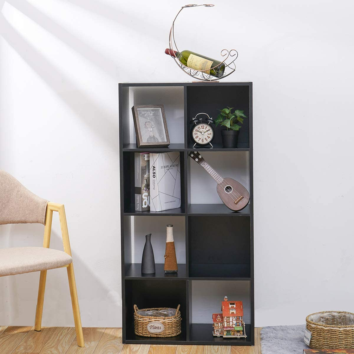 KINGSO 8 Cube Organizer 47.2 Bookshelf Bookcase, Vintage Walnut Finish Cube Storage Shelves Bedroom Furniture Living Room Furniture Black