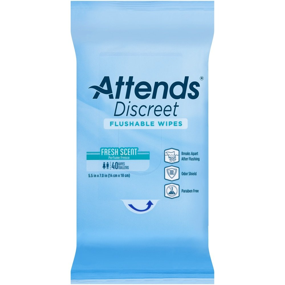 Attends Discreet Incontinence Care Flushable Wipes ,  960 Count by Attends (Image #2)
