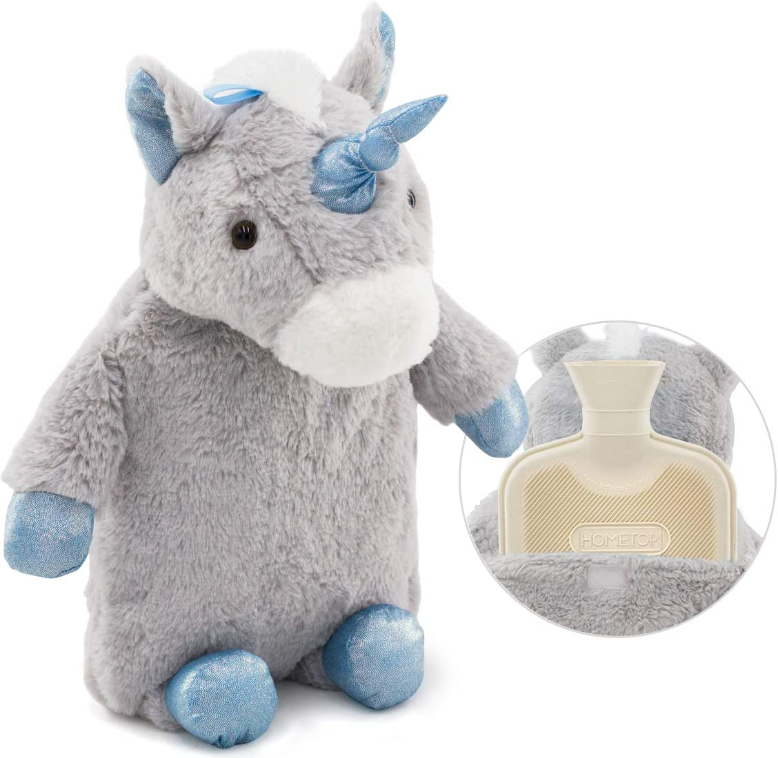 HomeTop Premium Classic Rubber Hot Water Bottle with Cute Unicorn Cover (1L, Gray)