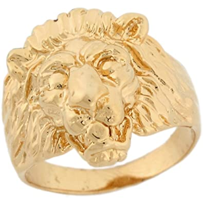 14k Solid Yellow Gold Lion Head Fancy Mens Ring Amazon