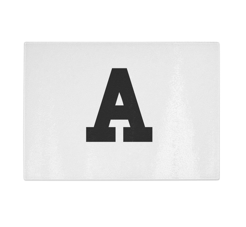 ''A '' College Font Initial Monogram Letter A Kitchen Bar Glass Cutting Board - 11 in x 16 in by Style in Print (Image #1)
