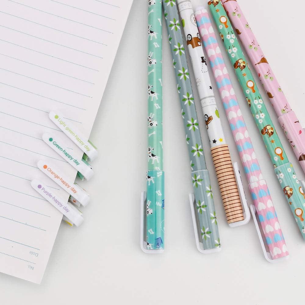 10 pezzi colorati simpatici cartoni animati penna cancelleria penna a sfera Kawaii studente set penna gel multicolore per scrivere regali di disegno Gobesty Penne gel per ragazze