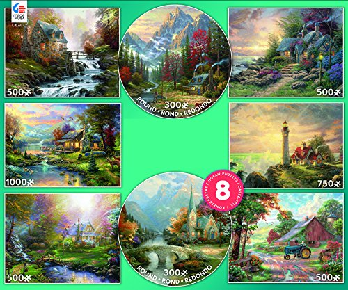 Ceaco 8-in-1 Multipack Puzzles by Thomas Kinkade - (2) 300 Pieces, (4) 550 Pieces, (1) 750 Pieces, (1) 1000 Pieces ()
