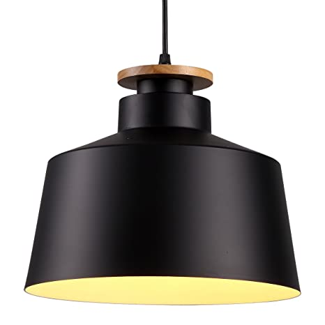CREALITE Vintage Style 1 Light Large Black Dome Pendant Light With Metal  Shade In Matte