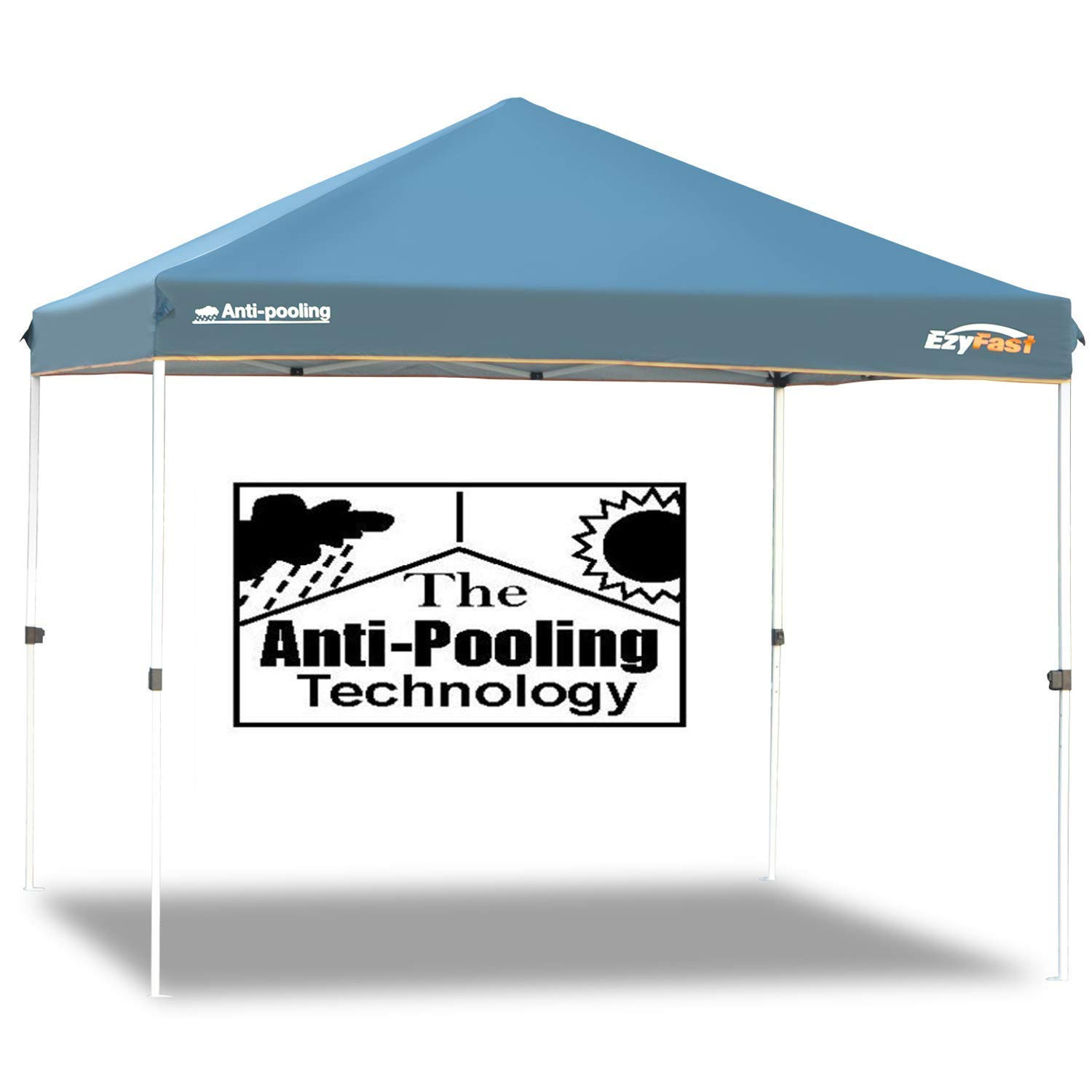 EzyFast Patented Anti-Pooling Instant Beach Canopy Shelter for Rain or Sunshine, Portable 10ft x 10ft Straight Leg Pop Up Shade Tent with Wheeled Carry Bag
