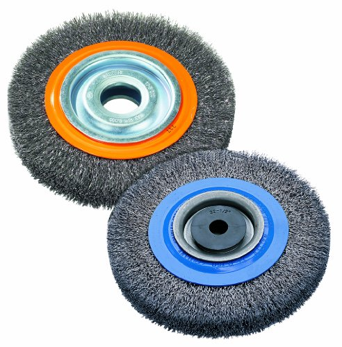 Walter 13B080 Stringer Bead Wheel Brush - 8 in. Orange Abrasive Wheel Brush with Crimped Wires, Round Hole, Carbon Steel