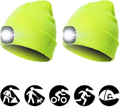 LED BEANIE HAT USB Rechargeable Camping Hiking Fishing Running Head Light Lamp