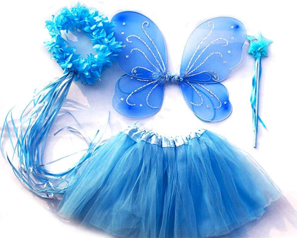 Vestito Farfalla da Bimba in 4 Pezzi: Gonna in Tulle Tante Tina Costume da Farfalla per Bambina Ali Verde Indicato per i Bambini da 2 a 8 Anni Bacchetta e Cerchietto