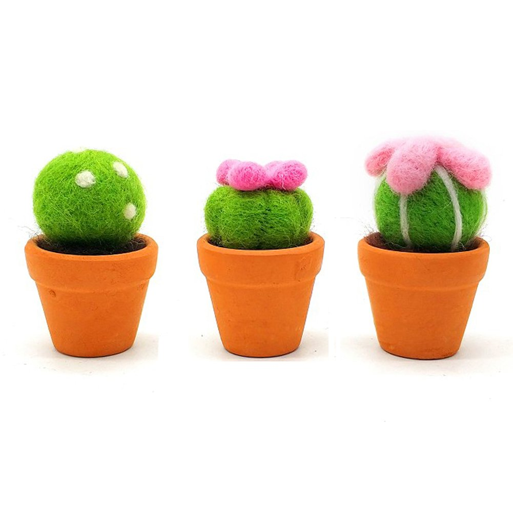 Artec360 Succulent Needle Felting Kits with Argil Base for Felting Beginners (3 Pack)