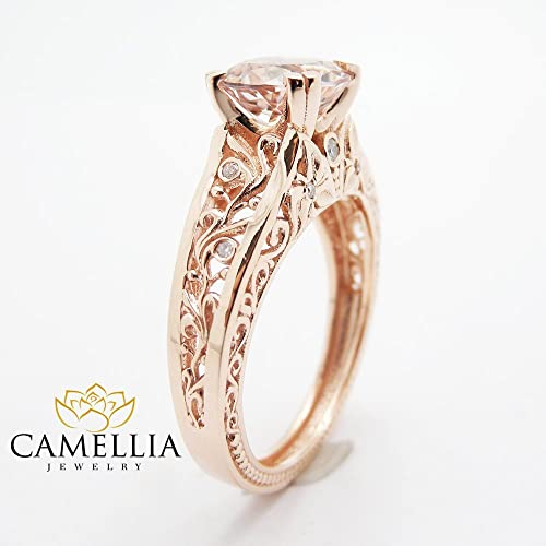 Amazon.com Vintage Engagement Ring 14K Rose Gold Morganite