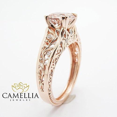 Amazon Com Vintage Engagement Ring 14k Rose Gold Morganite
