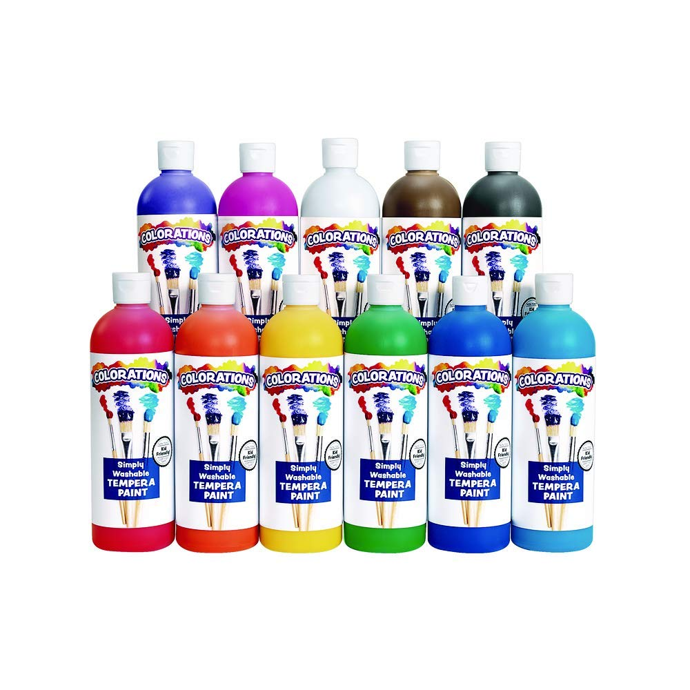Colorations - SWT16 Simply Washable Tempera Paints, 16 fl oz, Set of 11 Colors, Non Toxic, Vibrant, Bold, Kids Paint, Craft, Hobby, Arts & Crafts, Fun, Art Supplies