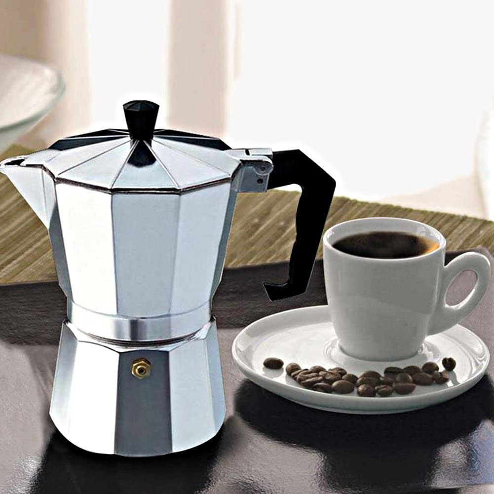 3//6//9//12 Cups Stovetop Aluminum Italian Moka Pot with Handle Ceramic Stovetops for Home Office Use Espresso Maker