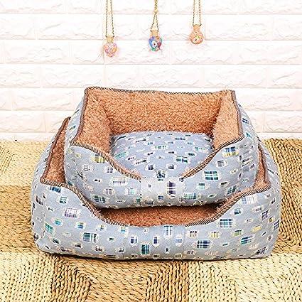 kai cesta Cama Perro Dog Bed cama para perro cojín para perro, Denim square,