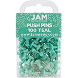 JAM Paper Push Pins - Teal PushPins - 100/Pack