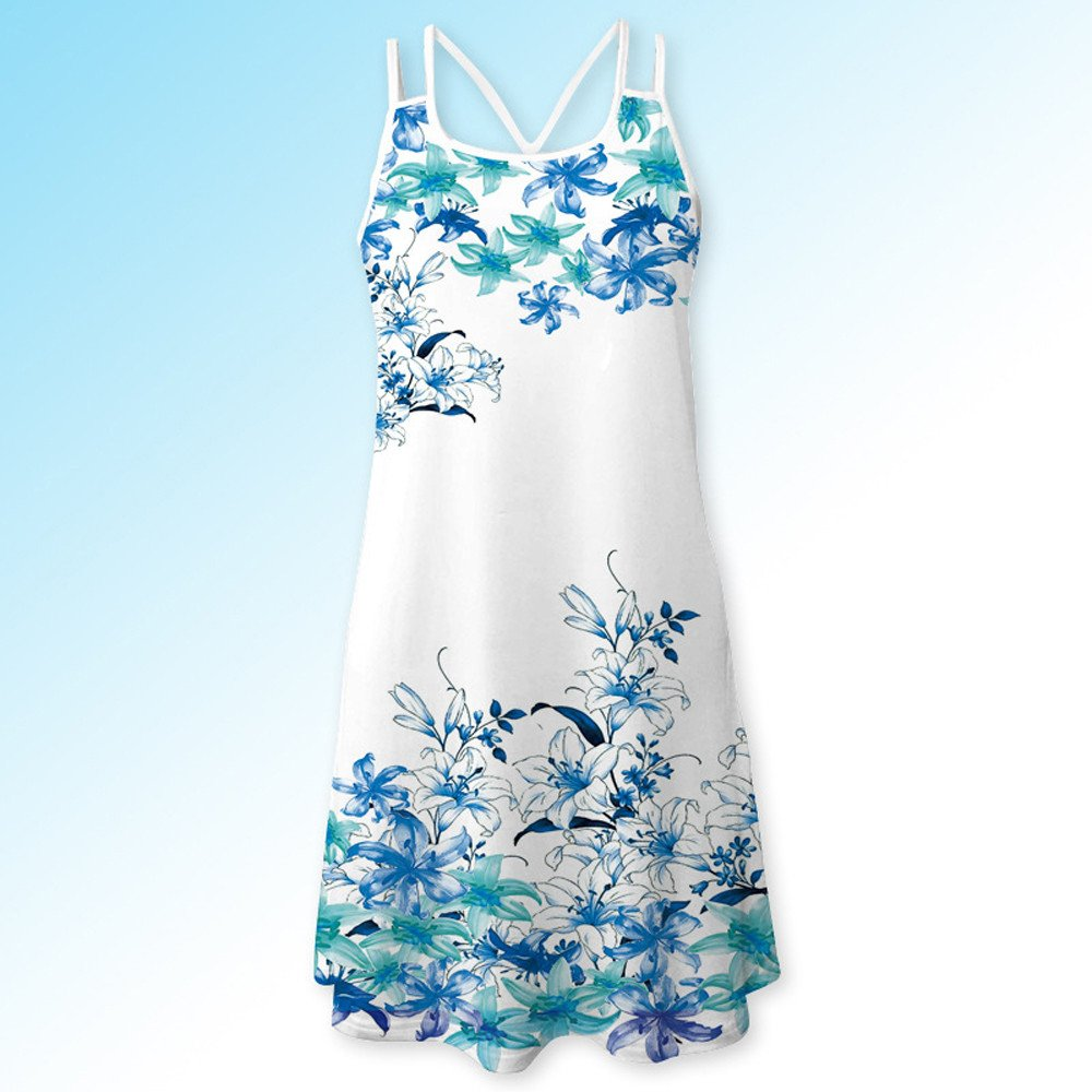 Women Summer Vintage Sleeveless 3D Floral Print Bohe Tank Short Mini Dress JIAJU-DJ Casual Dresses for Women