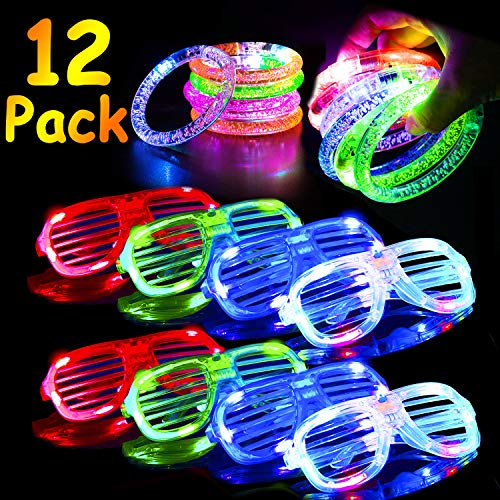 AMENON LED Glow Party Favor 12 Pack Light Up Toys for Kids, 6 LED Glasses 6 LED Party Bracelet Slap Glow in The Dark Party Pack Holiday Birthday Party Assortment