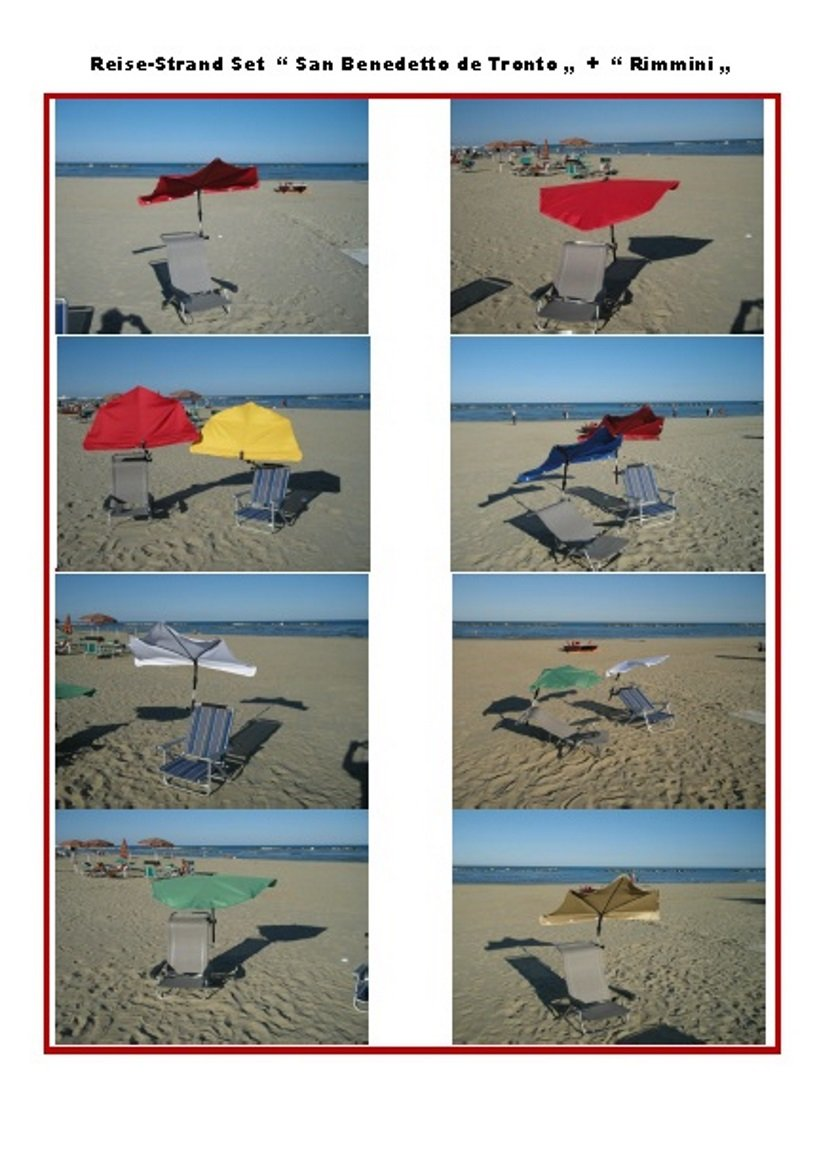 FREIZEIT REISE - BEACH - STRAND - SET- STABIELO ® HOLLY ® SAN BENEDETTO DEL TRONTO mit Fächerschirm Holly - Farbe BORDEAUX ROT --