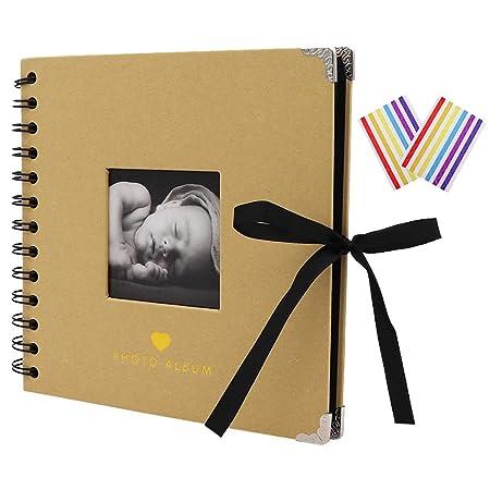 TSY Álbum de Fotos Scrapbook, 40 Páginas Negras (20 Hojas), Álbum de Recortes DIY para Boda, Cumpleaños, San Valentín, Navidad, Aniversario Regalos ...