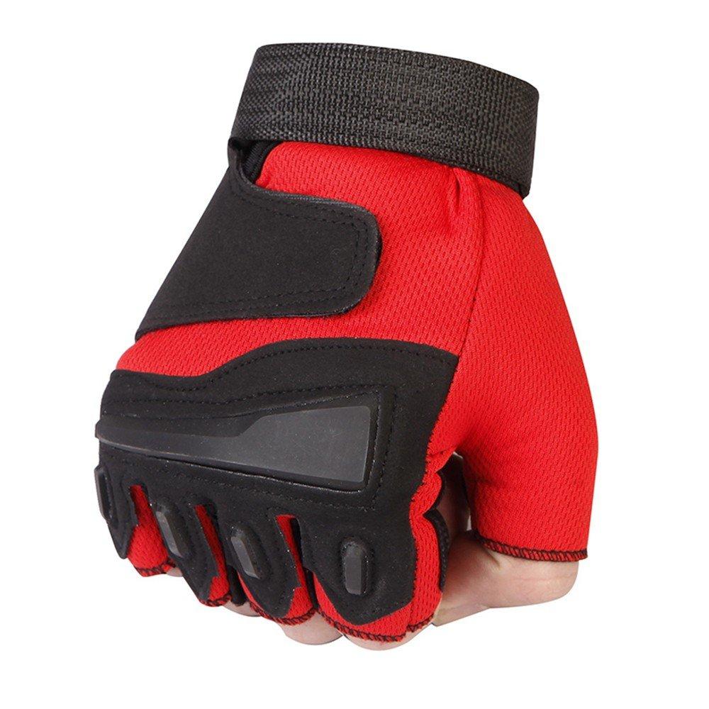 Wang Lin@ Guantes De Ciclismo Guantes Deportes De Los Hombres Medio Dedo Fitness Al Aire Libre Skid Wearable Riding Ejercicio Verano Dew Finger Half Gloves: ...