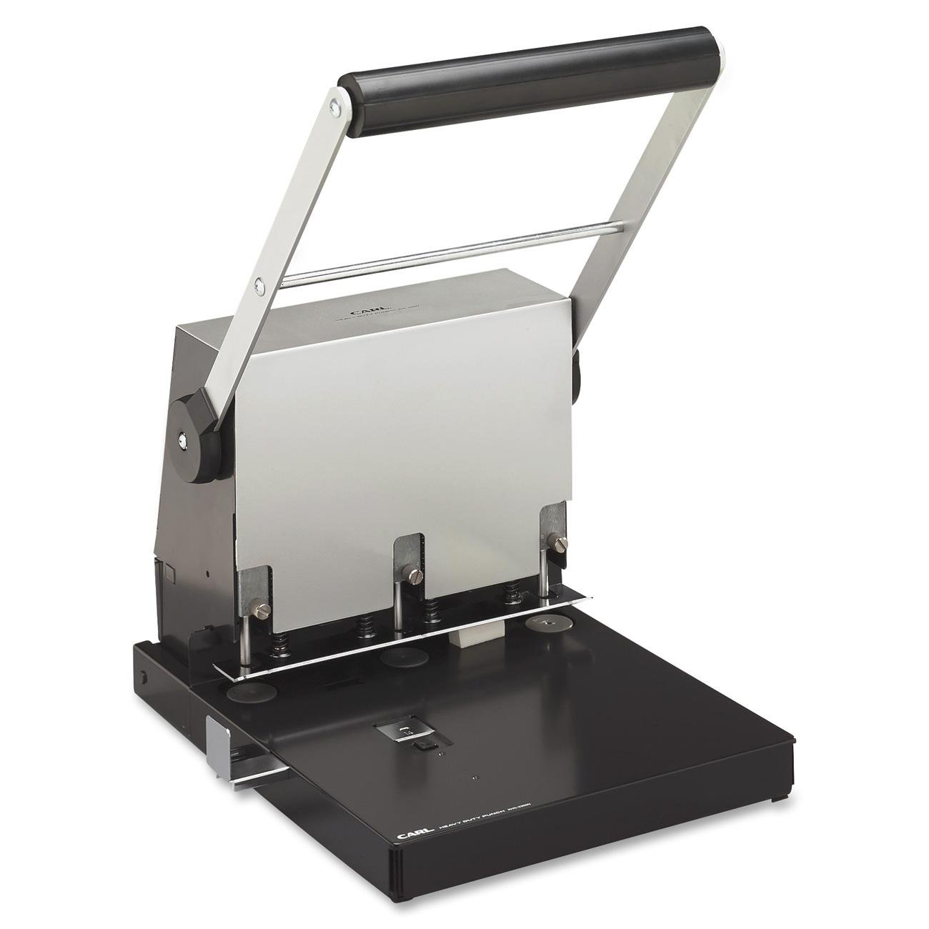 CARL Heavy-Duty 3 Hole Punch - 3 Punch Head(s) - Adjustable - 300 Sheet Capacity - 0.28'' - Platinum