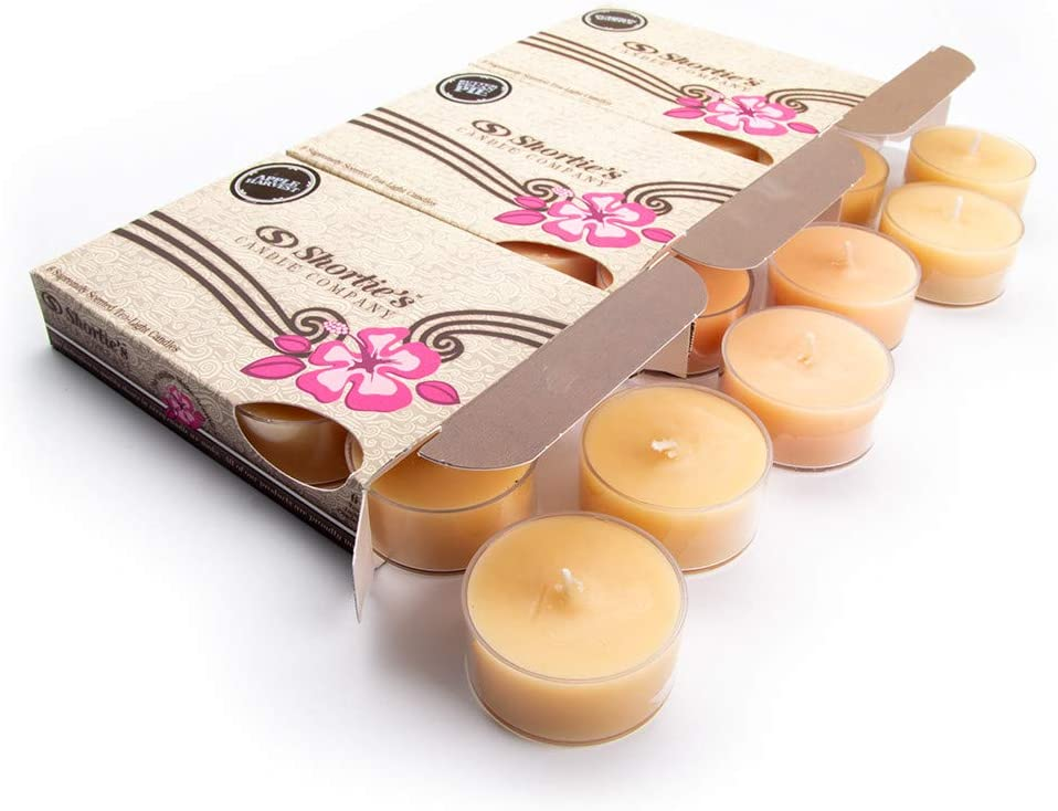 Shortie's Candle Company Fall Tealight Candles Variety 3 Pack (18 Highly Scented Tea Lights) - Pumpkin Souffle, Butter Pecan Pie, Apple Harvest - Made with Natural Fragrance Oils - Collection