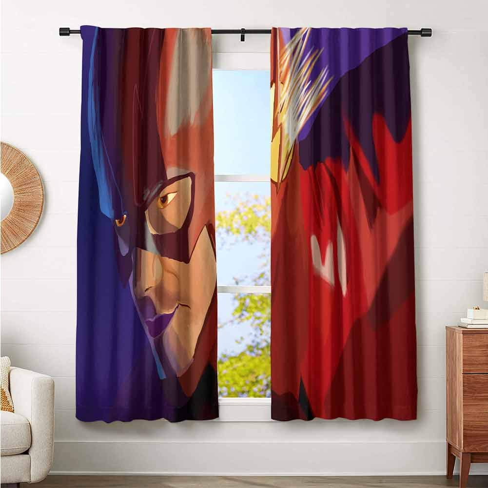 Boys Bedroom Backout Curtains Flash and Supergirl 4K Printed Kids Nursery Curtain