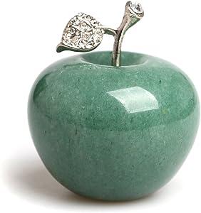 HongJinTian Natural Green Aventurine Carved Apple Figurine Statue with Alloy Leaf Healing Stone AVG.1.68Inch Diameter (Green Aventurine)