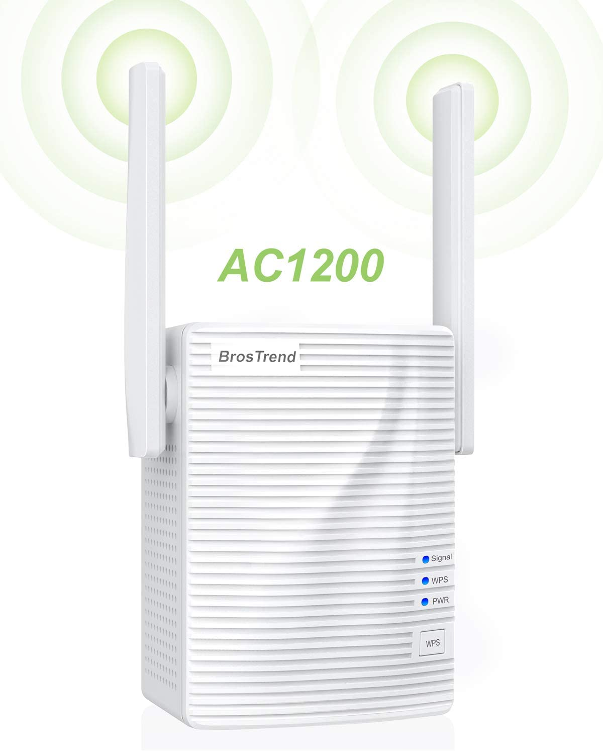 BrosTrend 1200Mbps WiFi Extender Repeater Range Extender WiFi Booster for Home, Coverage up to 1200 sq.ft, Simple Setup, Work with Any WiFi Routers
