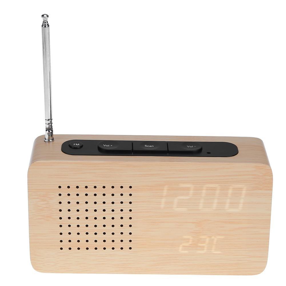 NELNISSA radio FM en bois Bambou LED Alarme Horloge Affichage LED électronique Horloge de bureau