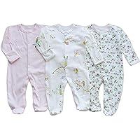Bebé Niños Niñas Mono Mameluco de Manga Larga Body Algodón Peleles Comodo Pijama Regalo de Recien Nacido, Pack de 3, 0/3…
