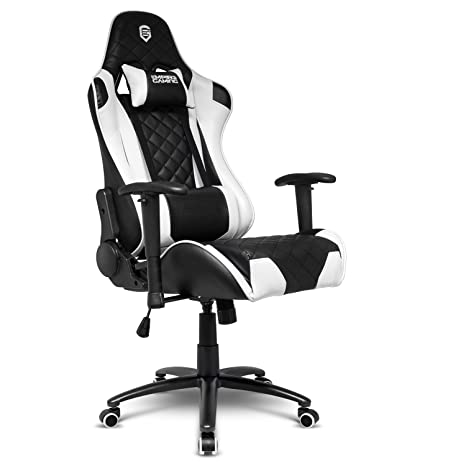 énorme réduction 31d9e f837a EMPIRE GAMING – Chaise Gamer Racing 700 Series Blanc et Noir, Pieds  Métalliques, Assise avec Double Rembourrage, Ergonomique et Inclinable - ...