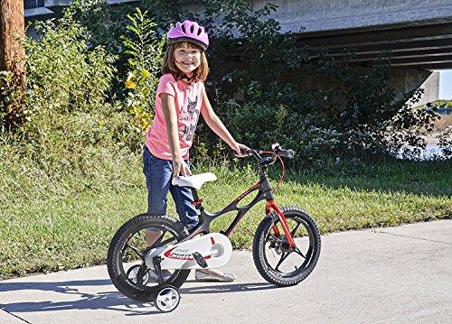 Bicicleta infantil Space Shuttle de 41 cm, ligera, marco de magnesio, con ruedines (estabilizadores) y pata de apoyo, color negro, tamaño 16 pulgadas: ...