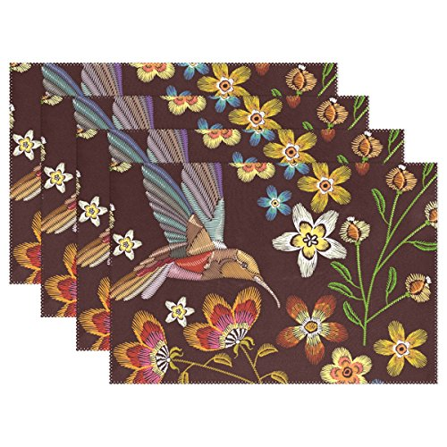 WIHVE Placemats Wipeable Dining Flower Leaf Hummingbirds Table Mat Rectangle Polyester Washable Insulation Non-slip Kitchen Placemat Set of 4]()