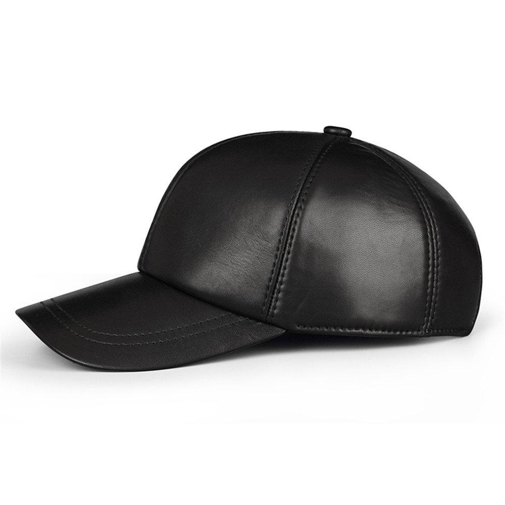 Onorevoli cuoio Baseball Hat uomini donne in autunno e in inverno tempo libero cap hat dimensione tappo maschio maschio scorza (56-60cm) può essere regolata,nero