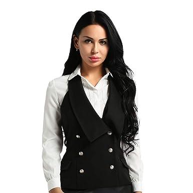0edf9420f24fef inhzoy Femmes Gilet Vest Tailleur à Double Bouton Ajusté Blazer ...