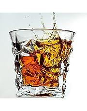 Diamond Whiskey Glasses - Set of 4 - by VACI + 4 Drink Coasters, Ultra Clarity Scotch Glass, Malt or Bourbon, Glassware Gift Set