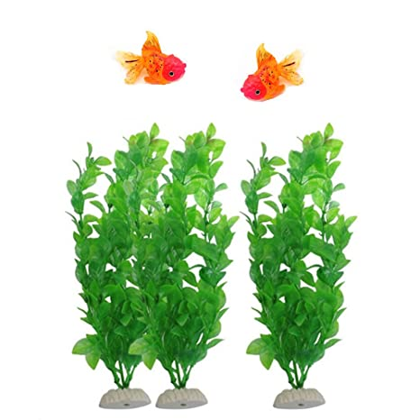 MAXGOODS 5 Pcs-Set Ornamentos Acuario (2 Peces Dorados Brillantes, 3 Plantas Artificiales