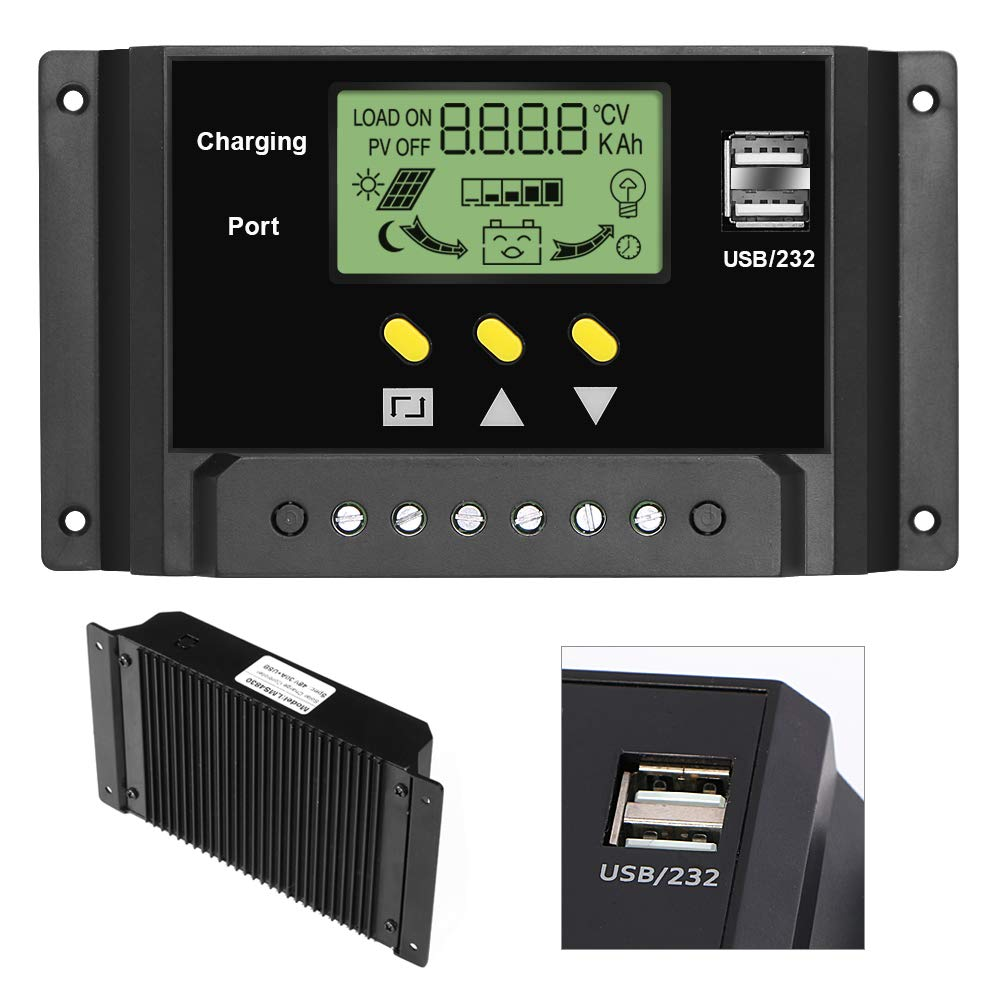 ALLPOWERS 30A Solar Charger Controller 12V/24V Solar Panel Battery Intelligent Regulator with Dual USB Ports, LCD Display by ALLPOWERS