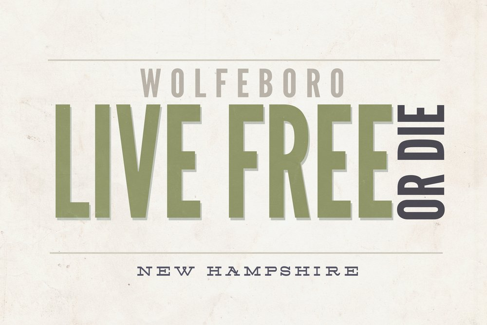 Live Free or Die – Wolfeboro、ニューハンプシャー(タン) 36 x 54 Giclee Print LANT-54319-36x54 36 x 54 Giclee Print  B017E9ZPYU