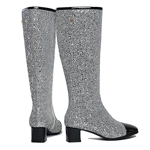 Leather Toe Boots Low Party Boot Square Wedding Heel Boots Knee Women Glitter High For Fashion Silver Dress F1qwROT1