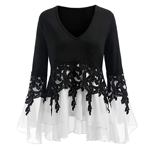 0f5a67d9 Womens BlouseTodaies Women Casual Applique Flowy Chiffon V-Neck Long Sleeve  Blouse Tops Black