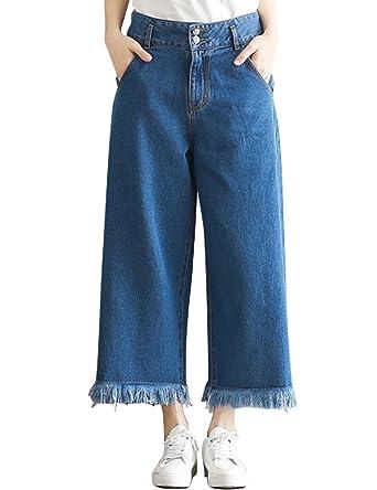 63f60abaf3bba SUGIRLS Women's Casual Loose Fit High Waist Wide Leg Denim Cropped Jeans  Pants Tassel Hem Blue